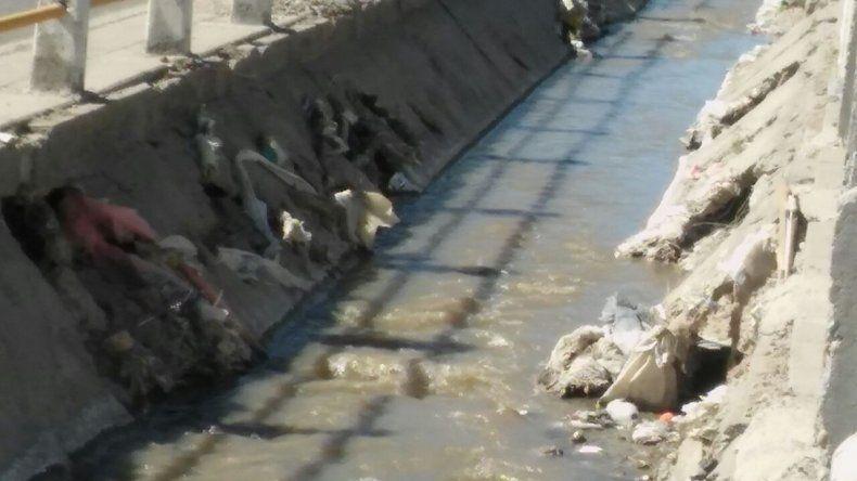 Preocupa el estado del canal evacuador de la Avenida Roca