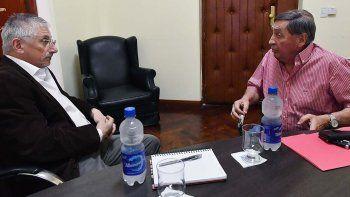 El ministro Coordinador de Gabinete, Jerónimo García, se reunió ayer en Rawson con el titular de Patagonia Argentina, Atilio Rossi.