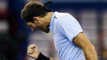 Juan Martín Del Potro celebra su trabajoso triunfo ante Fernando Verdasco en una de las semifinales del ATP 250 de Estocolmo.