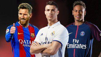 El argentino Lionel Messi, el portugués Cristiano Ronaldo y el brasileño Neymar.