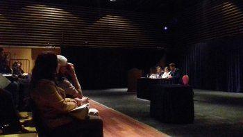 El fiscal general Teodoro Nürnberg, y los integrantes de la Protex, Malena Nisman y Marcos Parera en las Jornadas sobre Trata de Personas.