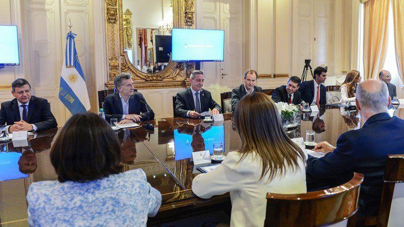 La reunión que el presidente encabezó ayer en Casa Rosada y a la que asistió la mayoría de los gobernadores.