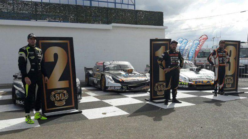 Esteban Gini –izquierda–, Josito Di Palma y Juan Marcos Angelini fueron los más rápidos en la clasificación del TC.