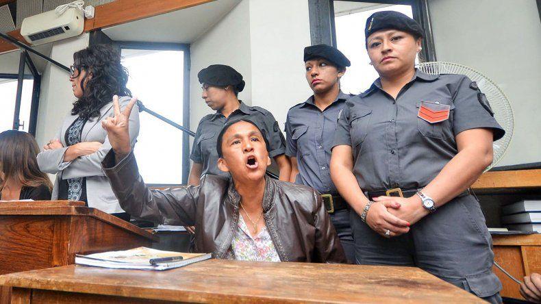 Milagro Sala al alegar inocencia ayer frente al tribunal.