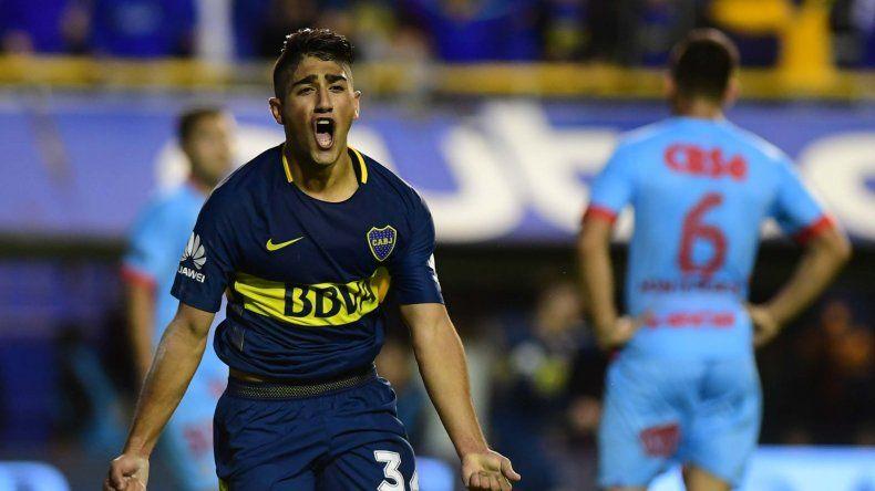 Guido Vadalá jugó ayer como titular y marcó el primer gol de Boca en el triunfo ante Arsenal.