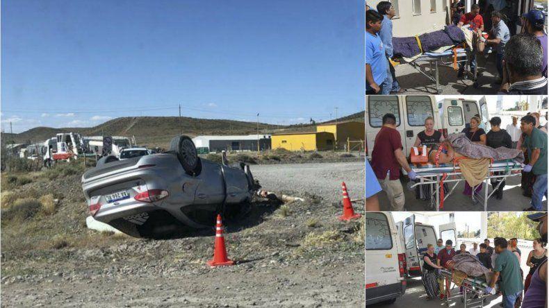 Un choque y posterior vuelco dejó cuatro heridos a la altura de Cerro Dragón