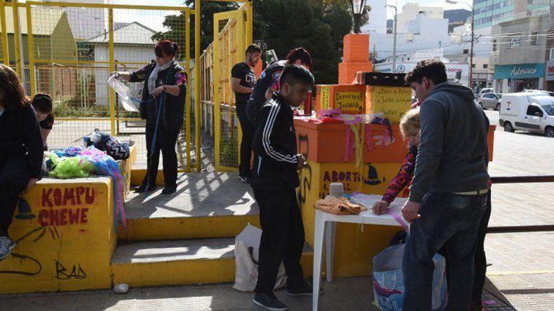 La protesta pública que montaron hace unos días estudiantes de la tecnicatura en Recreación y Tiempo Libre.