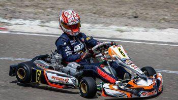 Franco Crivelli dio una clase magistral de manejo en el kartódromo Internacional de la AKPS, al largar último y llegar primero.