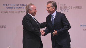 Mauricio Macri, estuvo acompañado por los presidentes de los países miembro del Mercosur, entre ellos Michel Temer de Brasil.