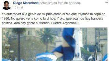 El mensaje de Diego Maradona tras los incidentes en el Congreso