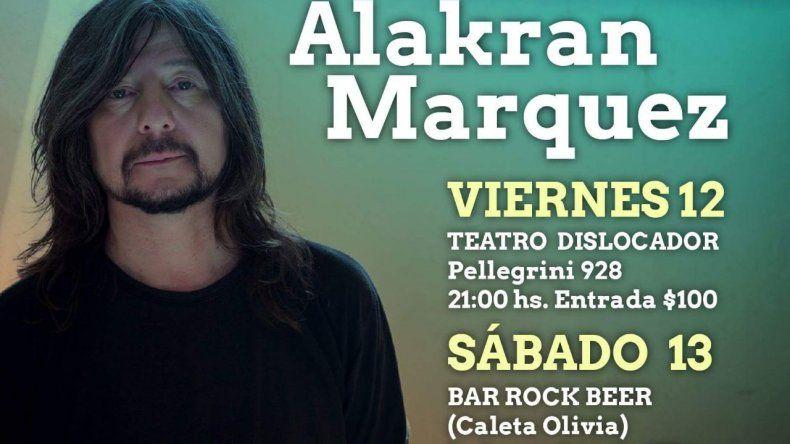 Alakrán Márquez se presenta en Comodoro y Caleta