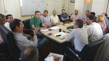La reunión que se desarrolló ayer por la mañana en el despacho municipal.