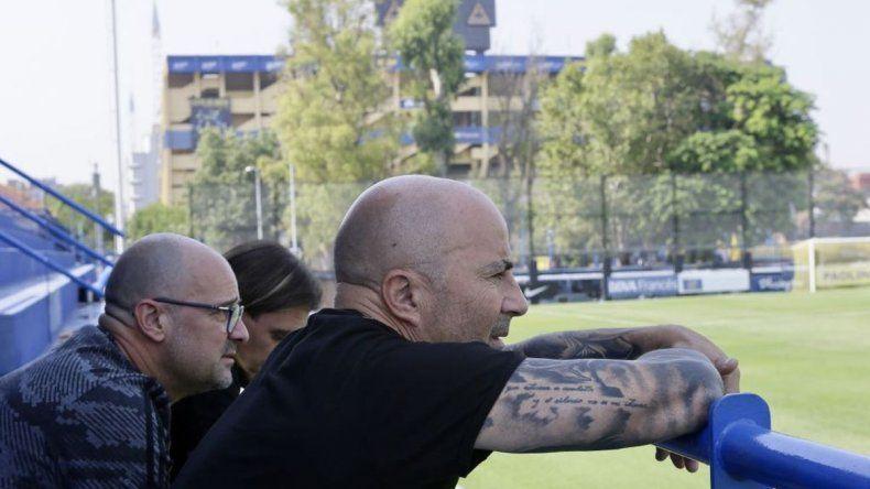 Sampaoli estuvo presente en la práctica de Boca