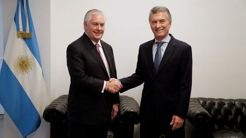 El presidente Mauricio Macri recibió ayer al secretario de Estado norteamericano