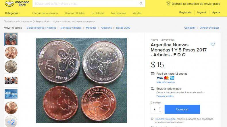 Venden las nuevas monedas de $1 y $5 a más del doble de su valor