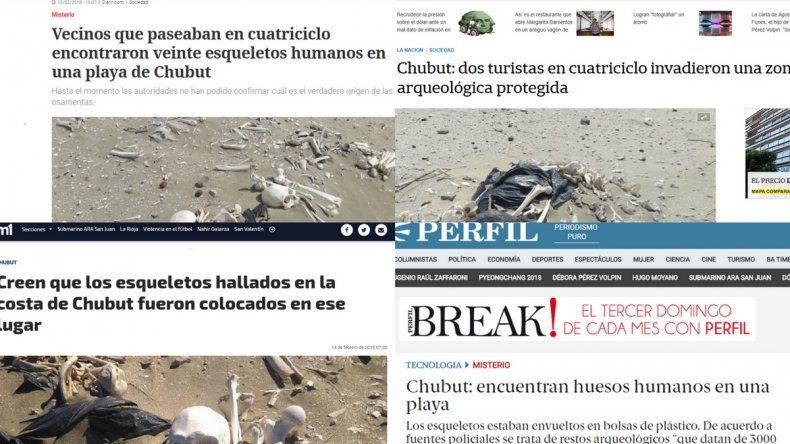 El hallazgo de esqueletos humanos repercutió en los medios nacionales