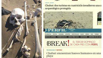 el hallazgo de esqueletos humanos repercutio en los medios nacionales