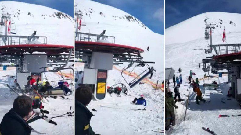 Silla de centro de esquí se descontroló y lanzó por los aires a turistas