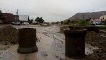 Las calles de Kilómetro 3 tras la lluvia.