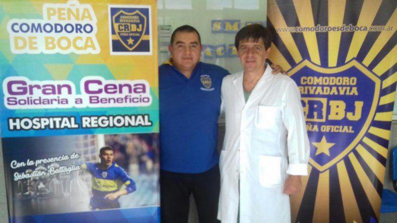 El presidente de la peña Comodoro es de Boca Juan Cedrón y el pediatra Luis Cisneros
