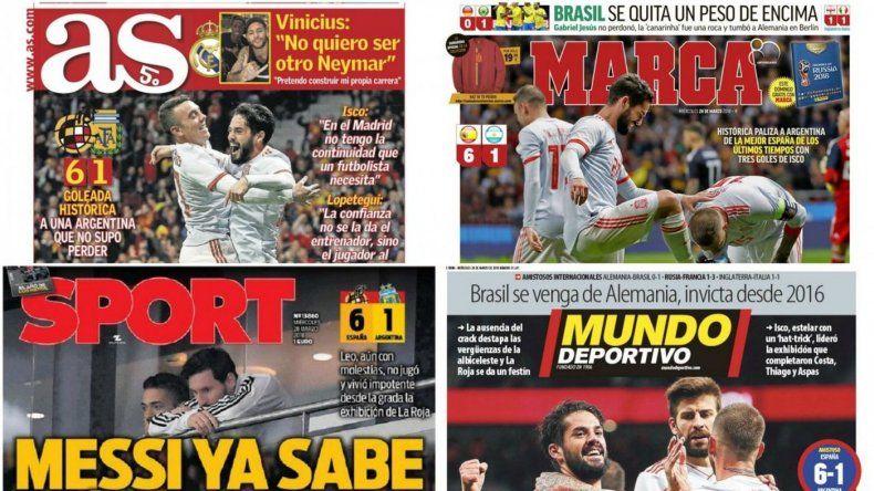 Los diarios de España gozan en las portadas con la goleada