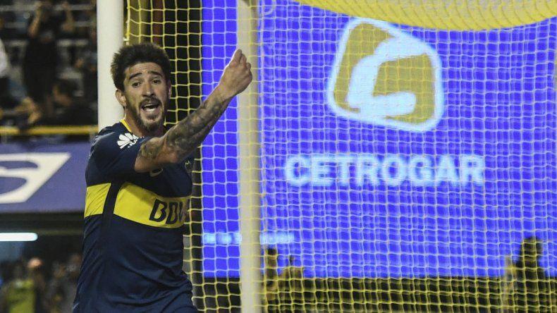 Pablo Pérez festeja su gol cuando se jugaba tiempo de descuento.