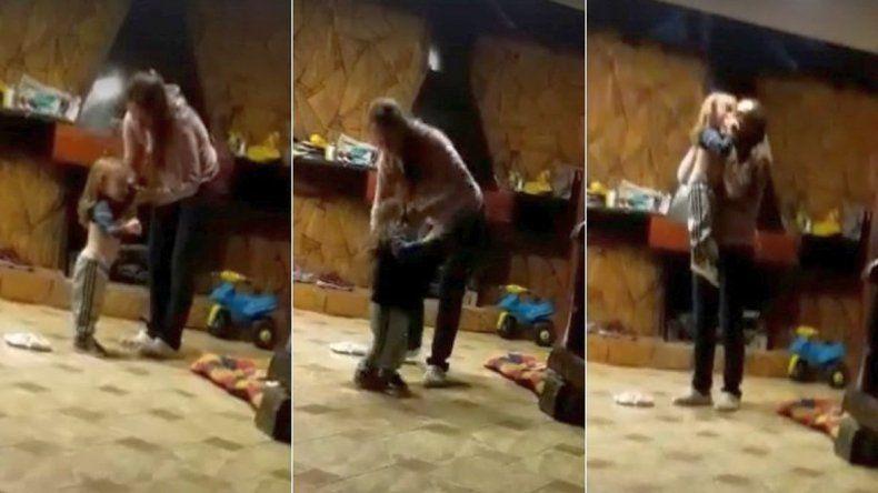 Niñera grabó como una madre golpea salvajemente a su hijo