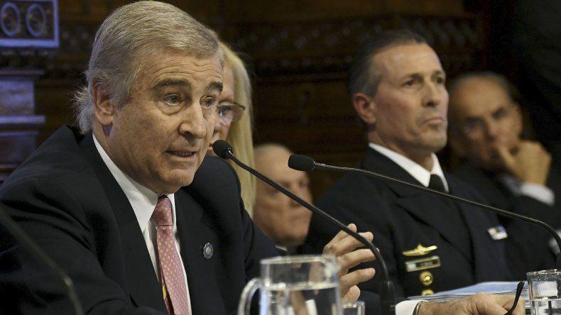 Antes de iniciar su exposición Oscar Aguad adelantó que no revelaría secretos militares sobre las tareas del submarino ARA San Juan.