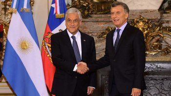 Mauricio Macri y Sebastián Piñera durante el encuentro que mantuvieron ayer en la Casa Rosada.