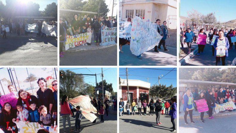 Tomas, marchas y abrazos simbólicos en escuelas de Comodoro