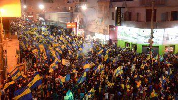 Incidentes en los festejos de los hinchas de Boca en el centro