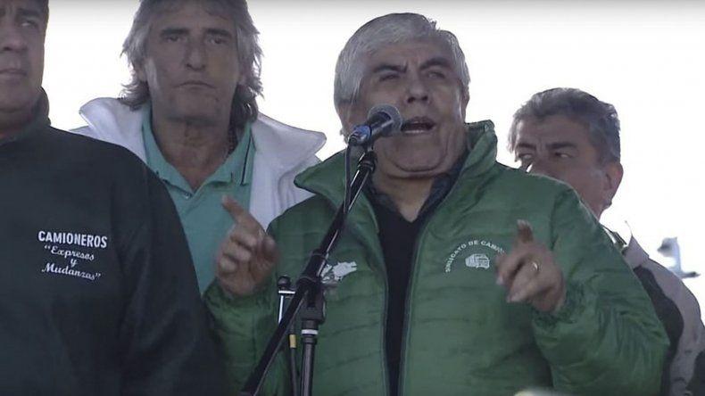 Hugo Moyano durante el acto de ayer en la autopista Ezeiza-Cañuelas.