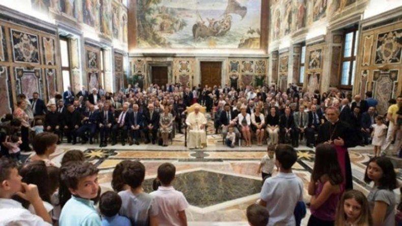 El papa Francisco durante el improvisado discurso que ofreció ayer frente al Forum Familia.