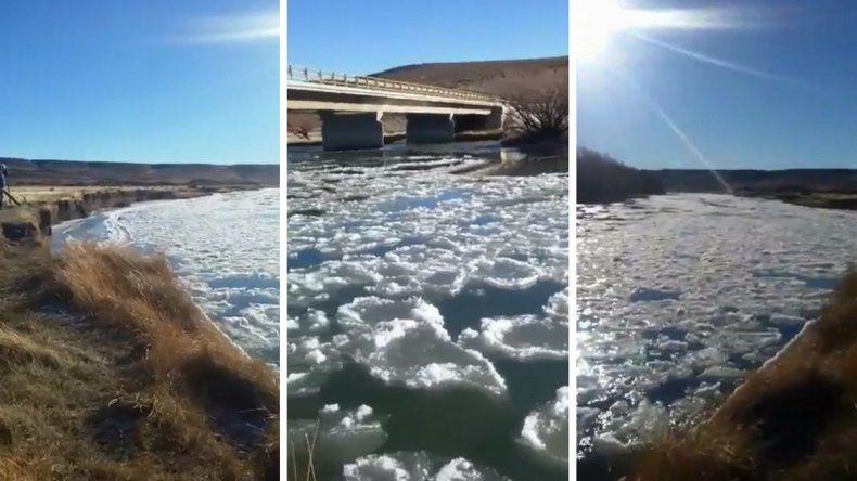 Por las bajas temperaturas se congeló el Río Senguer