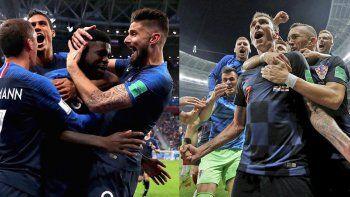 Francia y Croacia, una de las dos selecciones terminará feliz esta tarde en la capital rusa.