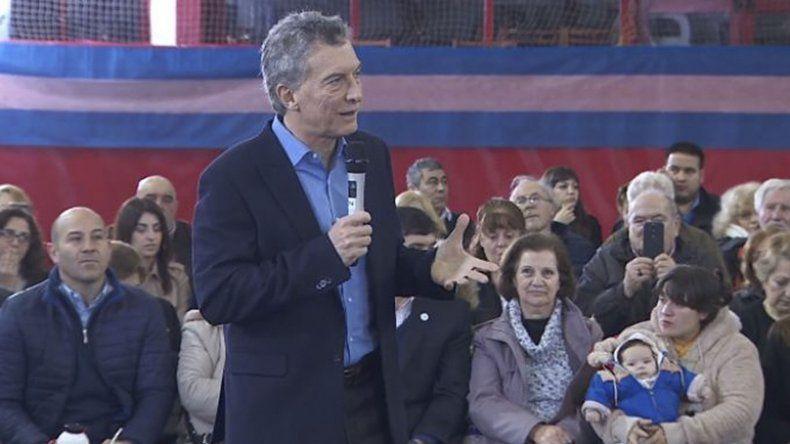 Mauricio Macri durante el acto que se desarrolló ayer en Quilmes.
