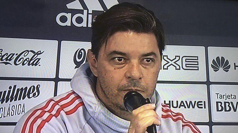 Marcelo Gallardo durante la conferencia de prensa que brindó ayer en el River Camp.