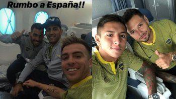 Los jugadores de Boca viajaron a España para jugar ante el Barcelona de Lionel Messi.