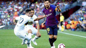 Messi fue titular y anotó uno de los tres goles en la victoria del Barcelona.