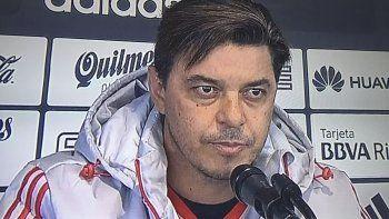 Marcelo Gallardo durante la conferencia de prensa que brindó ayer pasado el mediodía en el River Camp.