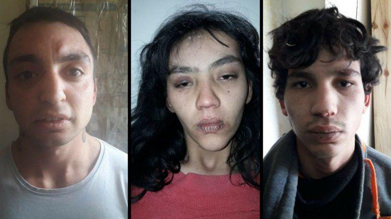 Los tres detenidos por el intento de robo.