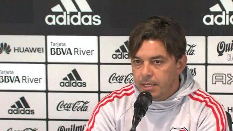 Marcelo Gallardo durante la conferencia de prensa que brindó ayer en el River Camp
