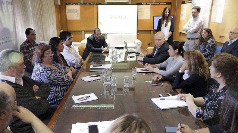 El encuentro entre los representantes de Chubut y médicos del Hospital Garrahan.