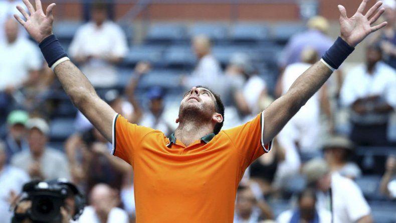 Juan Martín Del Potro celebra su pase a las semifinales del último Grand Slam de la temporada.