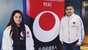 Con proyección nacional, Dafne Aylen Gómez (11) y Gianfranco Olea (13) fueron parte del Panamericano de Karate Do Shotokan.
