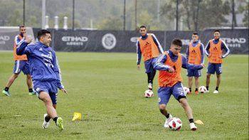 La selección argentina de fútbol trabajando ayer en New Jersey.