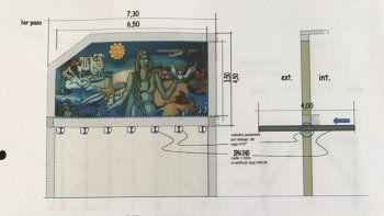 El traslado del mural fue diseñado por Marcelino Morón, hijo de la artista que pretendió ser defenestrada por las autoridades de Aeropuertos Argentina 2000.