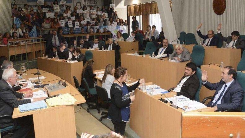 Numerosas mujeres poblaron las graderías del recinto parlamentario para avalar con su presencia y carteles la Ley de Paridad de Género.