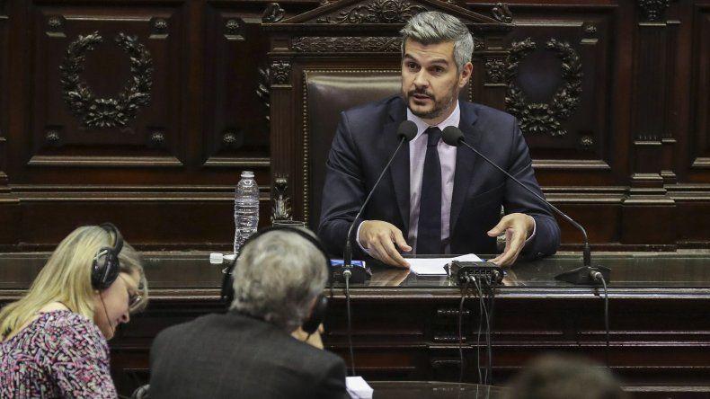 Marcos Peña durante su exposición de ayer en la Cámara de Diputados.