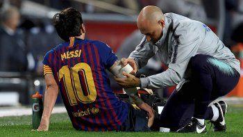 Lionel Messi se lesionó el último sábado en el partido que el Barcelona jugó con el Sevilla por la Liga española.